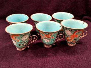 Set Of 6 Antique Chinese Porcelain Double Dragon Tea Cups With Sterling Handles