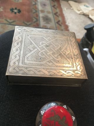 Indian Silver Plated Cigarette Box And Decorated Brass Pill Box