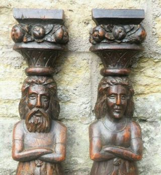 Pair 16th Century Oak Caryatid Terms