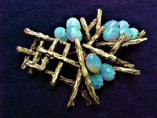 Vintage Hand Crafted Signed Mid Century Modern 14k Gold Pin W/ Exceptional Opals