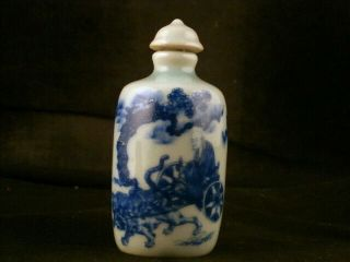 Good Quality 19thc Chinese Blue & White Porcelain 鬼谷子下山图 Snuff Bottle E122