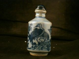 Good Quality 19thc Chinese Blue & White Porcelain Crane Snuff Bottle E007