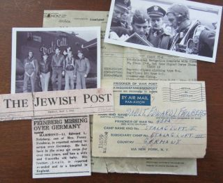 Wwii Pow Letter,  Jewish Army Air Corps Officer,  453rd Bomb Group J Stewart,  Mia