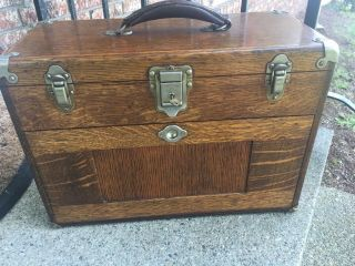 Vintage Oak Gerstner 41a 7 Drawer Machinist Tool Chest With Key