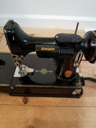 Vintage Singer Electric Sewing Machine Model 66 - 6,  Great,  With