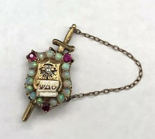 Antique 14k Gold Phi Delta Theta Fraternity Sword Diamond Opal & Ruby Pin Badge