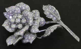 Vintage 1950s Heavy Platinum 15.  0ctw Vs1/f Diamond Cluster Rose Flower Brooch
