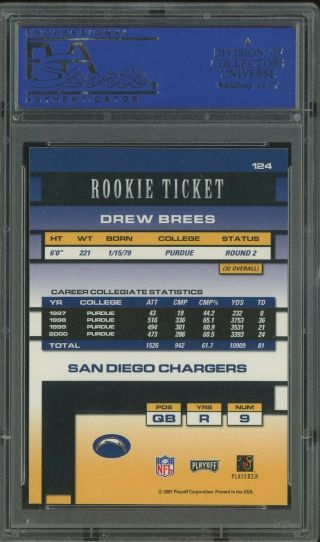 2001 Contenders Rookie Ticket Drew Brees Chargers RC AUTO /500 PSA 10