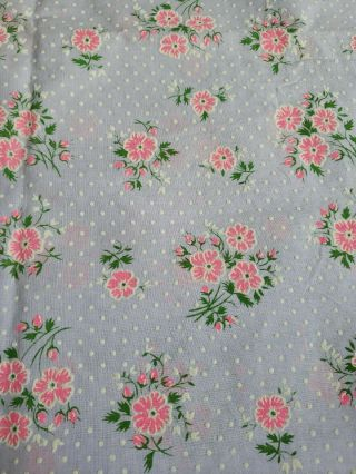 Vintage Flocked Fabric Dotted Swiss Purple Pink Floral 46 X 61