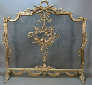 Vintage French Rococo Style Brass Ormolu Figural Birds Old Fireplace Screen