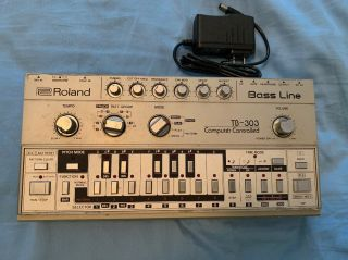 Vintage Rare Roland Tb - 303 Bass Line Analog Synthesizer Acid Techno W/ Power Sup