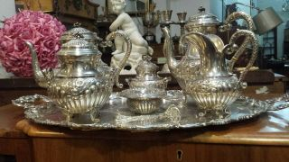4325g Masterpiece Sterling Silver Flutted Colonial Style Coffee Tea Set 8 Items