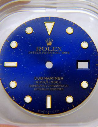 Vintage Rolex Submariner 16613 16618 16803 Blue Gold Tropical Watch Dial