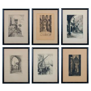 Set Of 6 Italian Architectural/street Scenes Antique Etchings