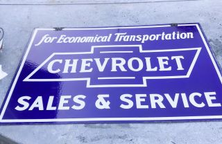 Vintage Porcelain Chevrolet Sales And Service 2 Sided Sign