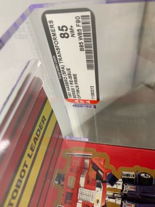 G1 Optimus Prime MISB AFA 85 NM,  85/85/90 Gold Box RARE Transformers 3