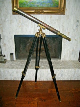 Antique Vintage Nautical Brass & Copper Telescope With Black Wooden Tripod Stand