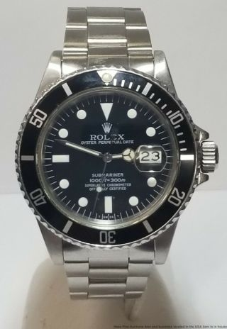 Vintage Rolex Submariner 16800 Stainless Steel Quickset Black On Black Mens Watc
