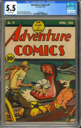 Adventure Comics 37 Rare Classic Cover Early Golden Age Dc 1939 Cgc 5.  5