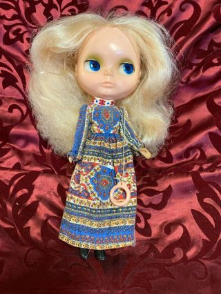 Vintage 1972 Kenner Blythe Doll Blonde With Dress Boots Tagged 6 Lines