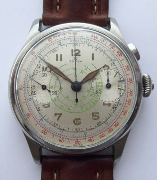 Omega Chronograph 33.  3 Rare Vintage Steel 1940s Oversize 5 Colours
