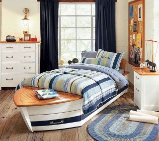 Half Off Rare Pottery Barn Kids Speedboat Bed/mattress/ Dresser/ Two Nightstands