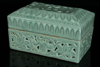 May055 Korean Goryo Celadon Porcelain White&black Inlay Incense Burner Koro Box