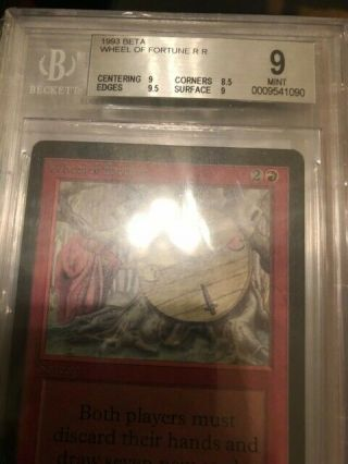 Mtg: 1x Bgs 9.  0 Beta Wheel Of Fortune Magic The Gathering 1993