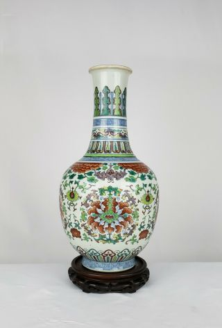 Perfect Large Antique Chinese Doucai Porcelain Flower Vase Qing Dynasty Guangxu