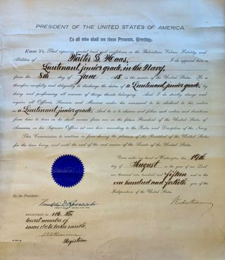 Rare Navy Appointment Signed By Two Presidents - Woodrow Wilson & Fdr