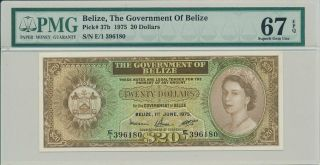 The Governemnt Of Belize Belize $20 1975 Rare Pmg 67epq