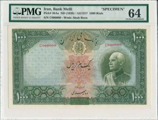 Central Bank Great Britain 1000 Pounds 1938 Specimen,  Very Rare Pmg 64
