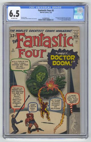 Fantastic Four 5 Cgc 6.  5 Vintage Marvel Comic Key Hot 1st Doctor Doom Kirby