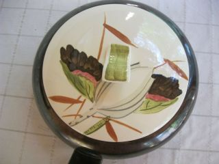 Vintage Covered casserole dish Red Wing Lotus Blossom Bronze 9