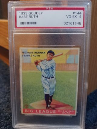 1933 Goudey Babe Ruth 144 Psa 4 Rare Card Awesome