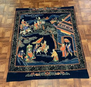 Lovely Unique Antique Chinese Silk Panel Painted With Details Qing