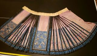 Spectacular Blue Antique Qing Dynasty Chinese Silk Embroidered Skirt