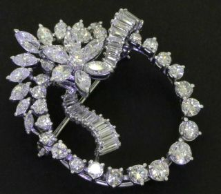 Vintage 1950s Heavy Platinum 6.  0ctw Vs Diamond En Tremblant Flower Circle Brooch