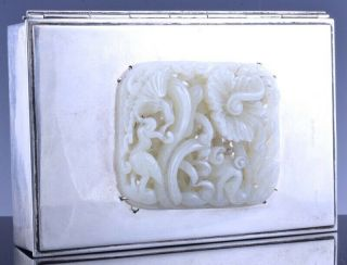 Exceptonal Edward Farmer Sterling Silver Box Chinese Yuan Ming White Jade Plaque