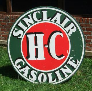 Sinclair Hc Double - Sided Porcelain Sign 48 Inch,  Vintage