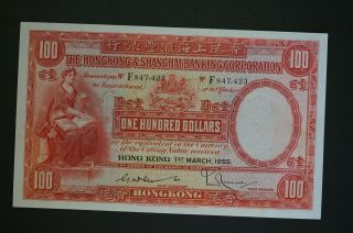 Rare Hong Kong 1955 $100 Hsbc Note Ch - /unc To Gem - Unc Owner Paid $1700 (k024)