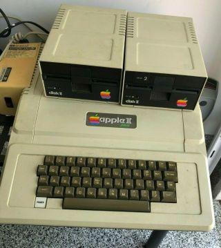 Vintage Apple 2 Plus Computer And 2 Drives W/integer Basic Card,  Etc.