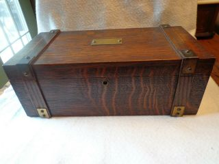Antique Vintage Arts & Crafts Mission Oak Wood Jewelry Trinket Box