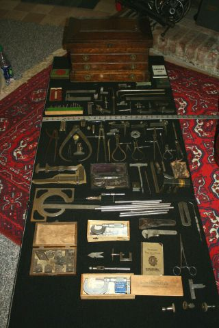 Antique Machinist Chest Complete With Contents And Tools -