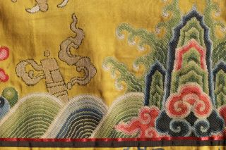 Antique Chinese 19th Century Kesi Silk Dragon Panel Imperial Yellow ESTATE FIND 10