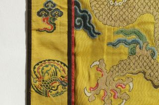 Antique Chinese 19th Century Kesi Silk Dragon Panel Imperial Yellow ESTATE FIND 11