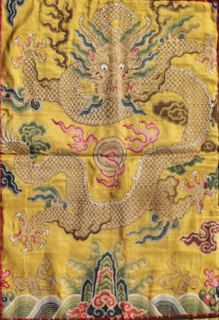Antique Chinese 19th Century Kesi Silk Dragon Panel Imperial Yellow ESTATE FIND 3