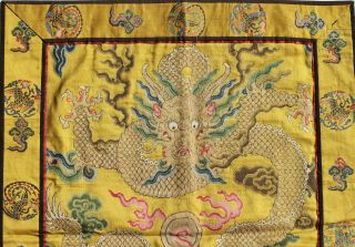 Antique Chinese 19th Century Kesi Silk Dragon Panel Imperial Yellow ESTATE FIND 5