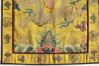 Antique Chinese 19th Century Kesi Silk Dragon Panel Imperial Yellow ESTATE FIND 6