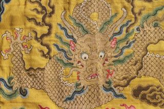 Antique Chinese 19th Century Kesi Silk Dragon Panel Imperial Yellow ESTATE FIND 7